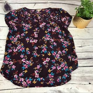 LILY WHITE maroon floral hi lo blouse L